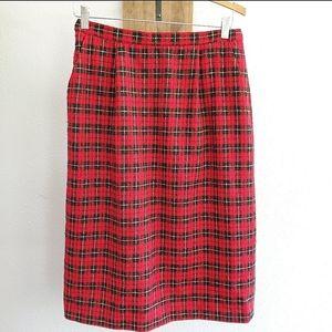PENDLETON Vintage Red Black Plaid Wool Skirt 10